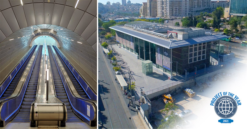 Left: The escalators meet the facility's intense traffic needs, 24h a day. Right: Yitzchak Navon Train Station