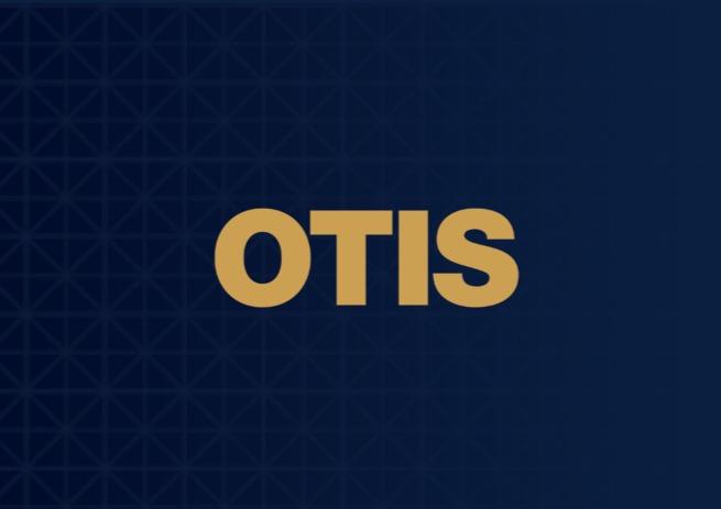 Otis Newsroom Logo navy background sandstone letters