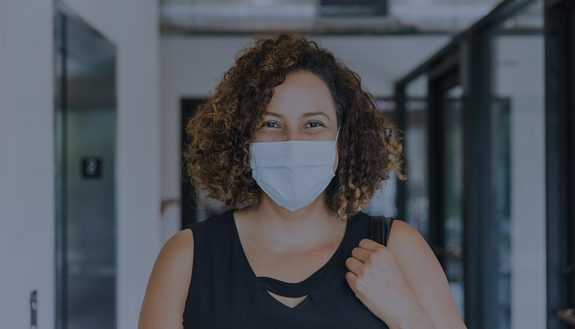 Otis airflow study results woman in mask